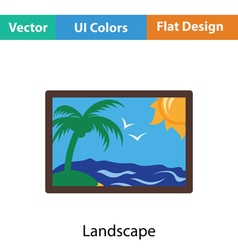 Landscape art icon vector
