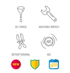 adjustable wrench oil change and abs icons vector image vector image
