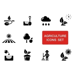 Agriculture set with red accent vector