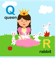 Alphabet letter q-queen r-rabbit vector