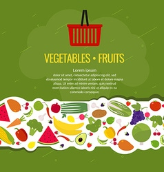 Border fresh vegetables and fruits organic food vector