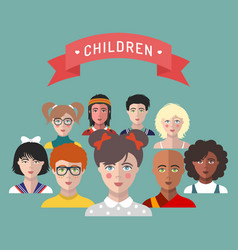 children avatarsset of different vector image
