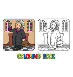 Coloring book of funny judge vector