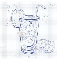 Cuba libre on a notebook page vector