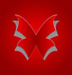 Cut out butterfly on red paper vector image vector image