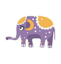 Cute cartoon elephant character side view vector