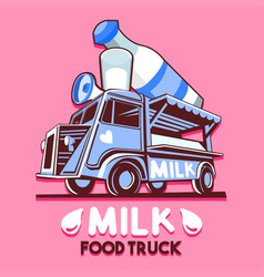 Food truck dairy milk bar fast delivery service vector