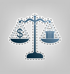 Gift and dollar symbol on scales blue vector