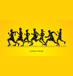 group of people running marathon vector image