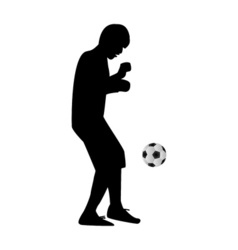 Man kicking soccer ball vector image