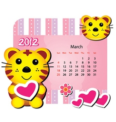 march tiger calendar vector image vector image