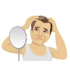 Mature man worried about hair loss vector