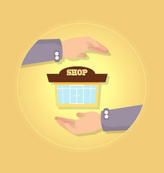Nice brown and yellow shop on yellow background vector