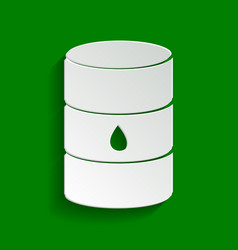 Oil barrel sign paper whitish icon with vector