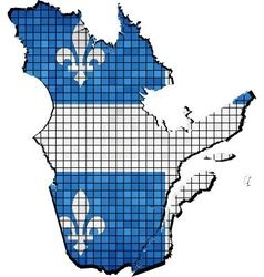 Quebec map with flag inside vector image vector image