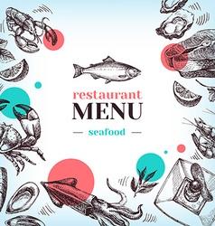 Restaurant sea food menu hand drawn sketch vector