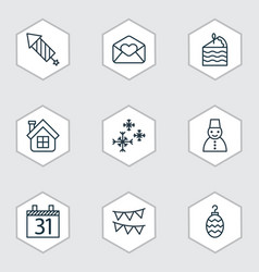 Set of 9 holiday icons includes date greeting vector