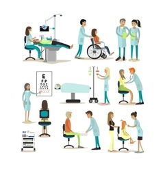 Set of doctors and patients characters vector