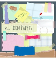 Set of torn note papers vector image