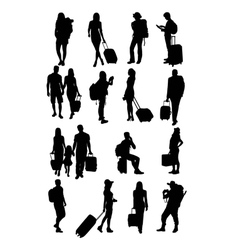 Traveling People Silhouettes vector image vector image