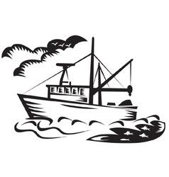 Tugboat at sea vector