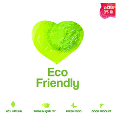 watercolor green eco friendly heart shape label vector image