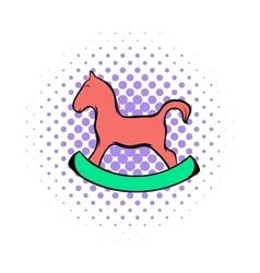 Wooden horse comics icon vector