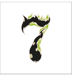 Fiery font black and green number 7 on white vector