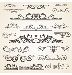 Fine line set of design elements isolated on light vector image