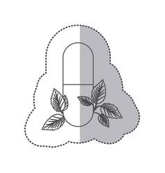 Sticker monochrome silhouette pill medical in vector