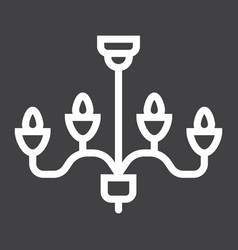 Chandelier line icon furniture and interior vector