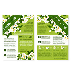 Spring time posters of white flowers wreath vector
