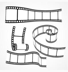 3d film reel strip set vector