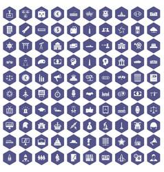 100 government icons hexagon purple vector