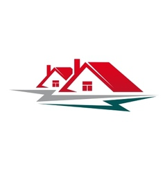 Two residential houses symbol vector