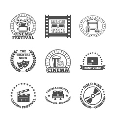 Cinema black retro labels icons set vector