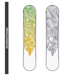 Snowboard design five vector