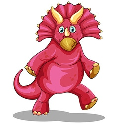 Red dinosaur with sharp horns vector