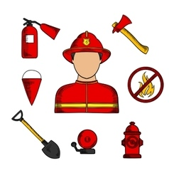 Fireman and fire fighting symbols vector