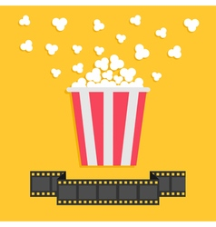 Popcorn film strip ribbon line red yellow box vector