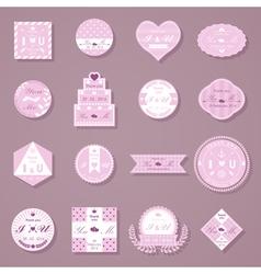 Set of wedding decorative stickers vector