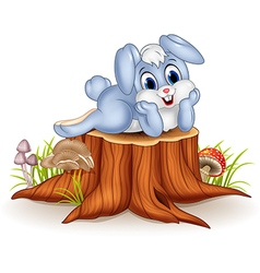 Cartoon bunny posing on tree stump vector
