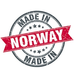 Made in norway red round vintage stamp vector