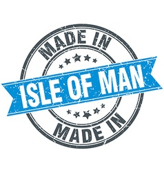 Made in isle of man blue round vintage stamp vector