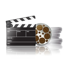 clapboard and film reel 01 vector image