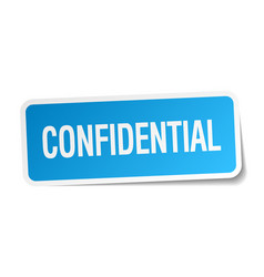 Confidential blue square sticker isolated on white vector