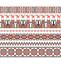 cross stitch ethnic Ukraine pattern vector image