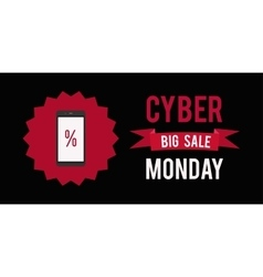 Cyber monday sale banner witn black background vector image vector image