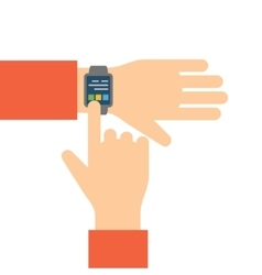 Finger touches screen smart watch vector image vector image