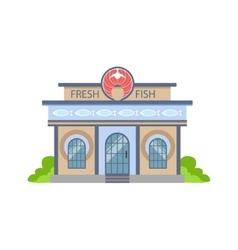 Fresh fish shop commercial building facade design vector
